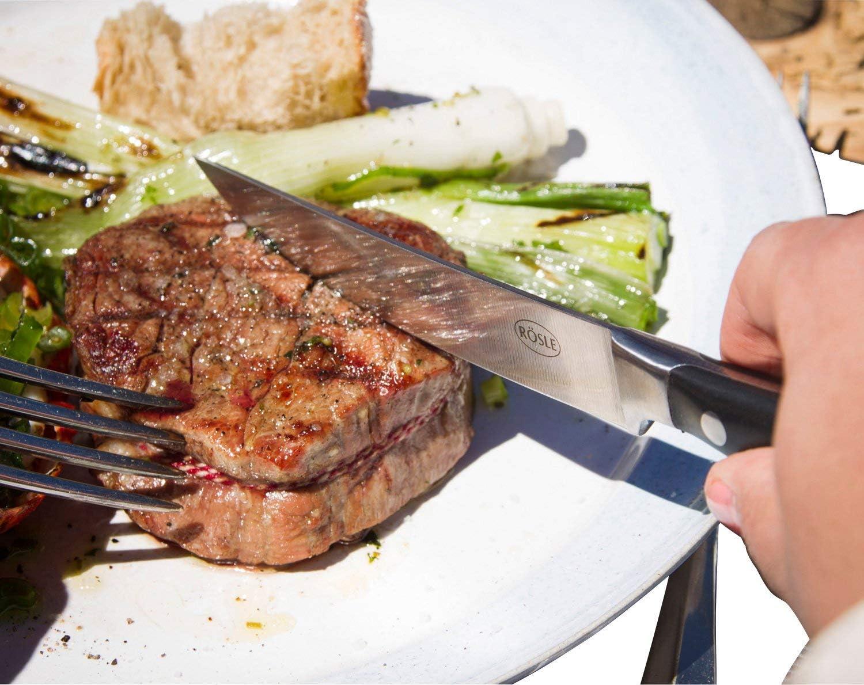 Bois R/ösle Coffret Couverts /à Steaks-4 pi/èces Barbecue
