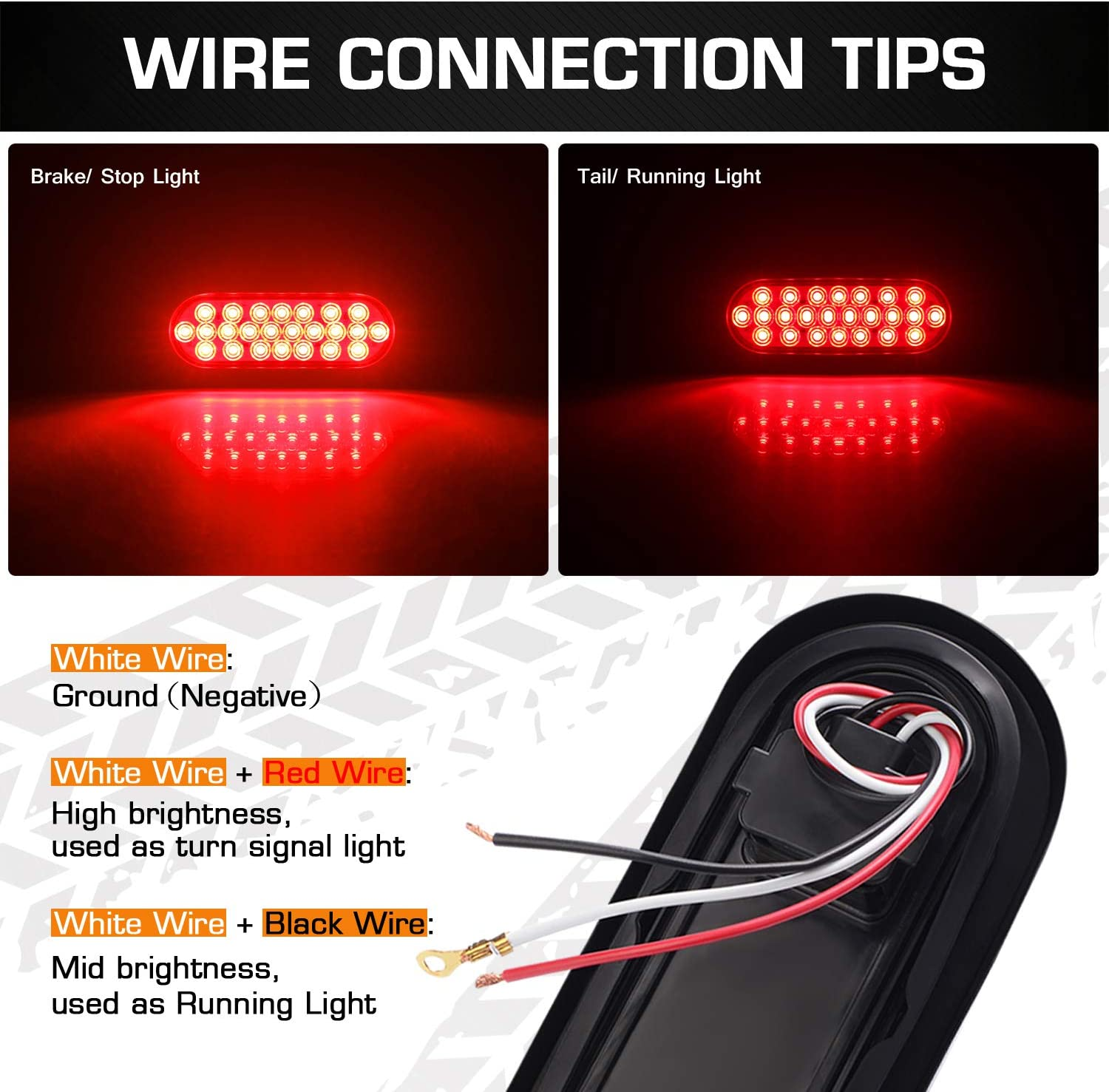 6 Oval Trailer Lights IP67 2 Pack DOT Certified Super Bright Red 24LED Brake Turn Stop Marker Reverse Tail Lights with Waterproof Rubber Gaskets for Boat Trailer Truck RV