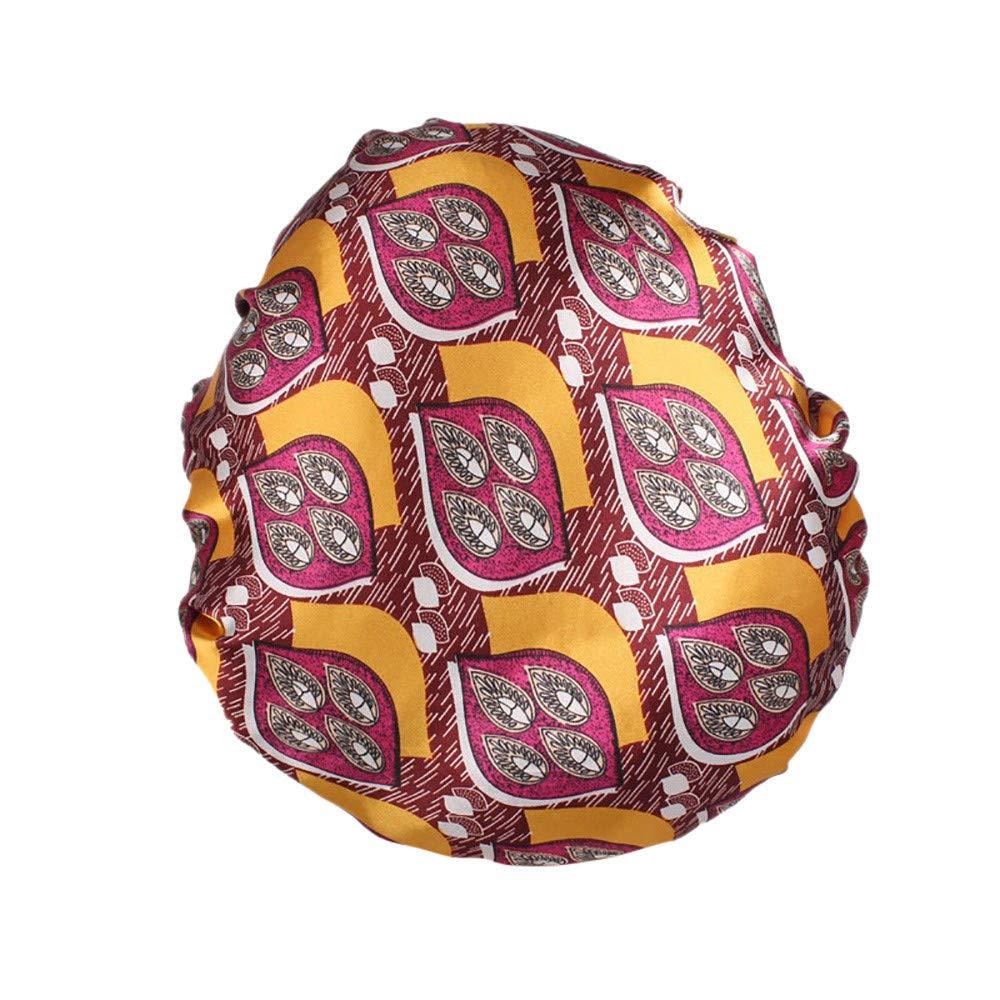 Rovinci 1 PCS Mode aux femmes Bandeau Satin Imprim/é /À large bord Bande de cheveux Bonnet de sommeil Chimioth/érapie Chapeau Cheveux D/écontract/ée Int/érieur Casquette