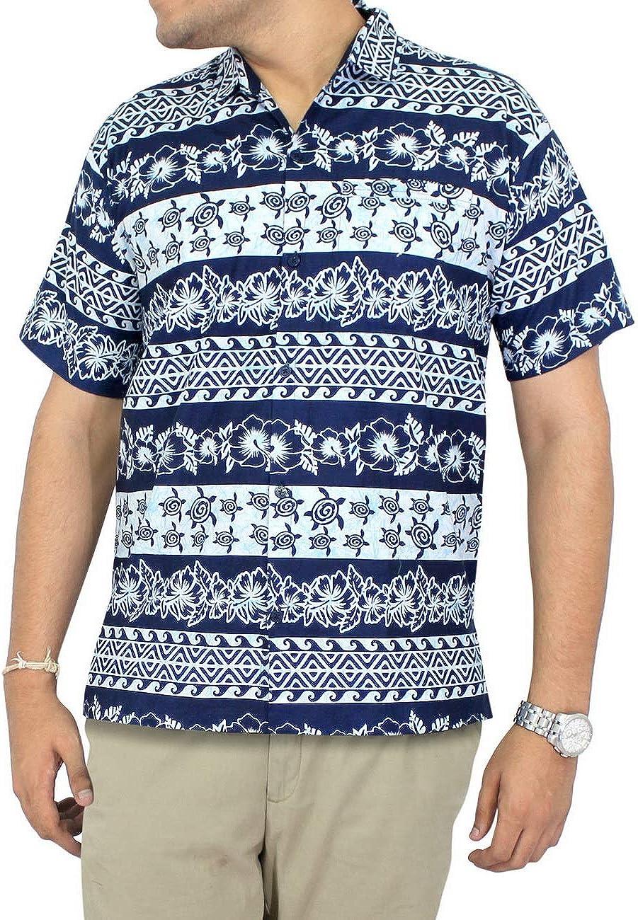 LA LEELA Shirt Camisa Hawaiana Hombre XS - 5XL Manga Corta Delante de Bolsillo Impresión Hawaiana Casual Regular Fit Camisa de Hawaii Negro: Amazon.es: Ropa y accesorios