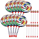 """Yibuy 7.9"""" Lollipop Shape Drum with Rainbow Color Mallet Music Rhythm Instruments Playing Toy Pack of 10"""