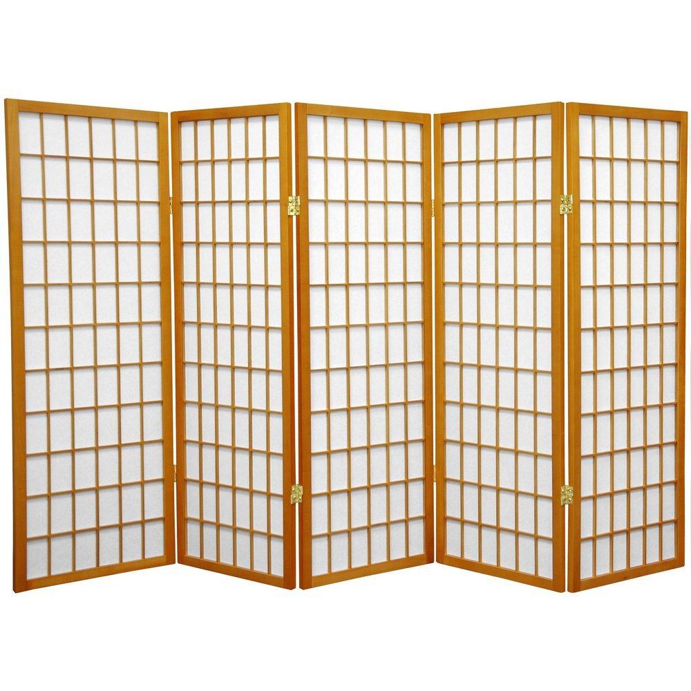 Oriental Furniture 4 ft. Tall Window Pane Shoji Screen - Honey - 5 Panels