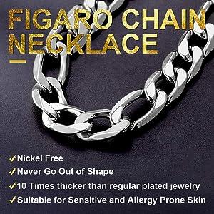 Style Punk noir de collier de chaîne solide