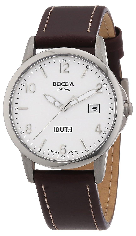 Boccia 604-01 - Reloj analógico de caballero de cuarzo con correa de piel marrón