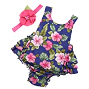 PrinceSasa Baby Girl Clothes Navy Floral Ruffles Summer Cake Smash Romper and Headband for Newborn Gifts,A22,0-6 Months(Size S)