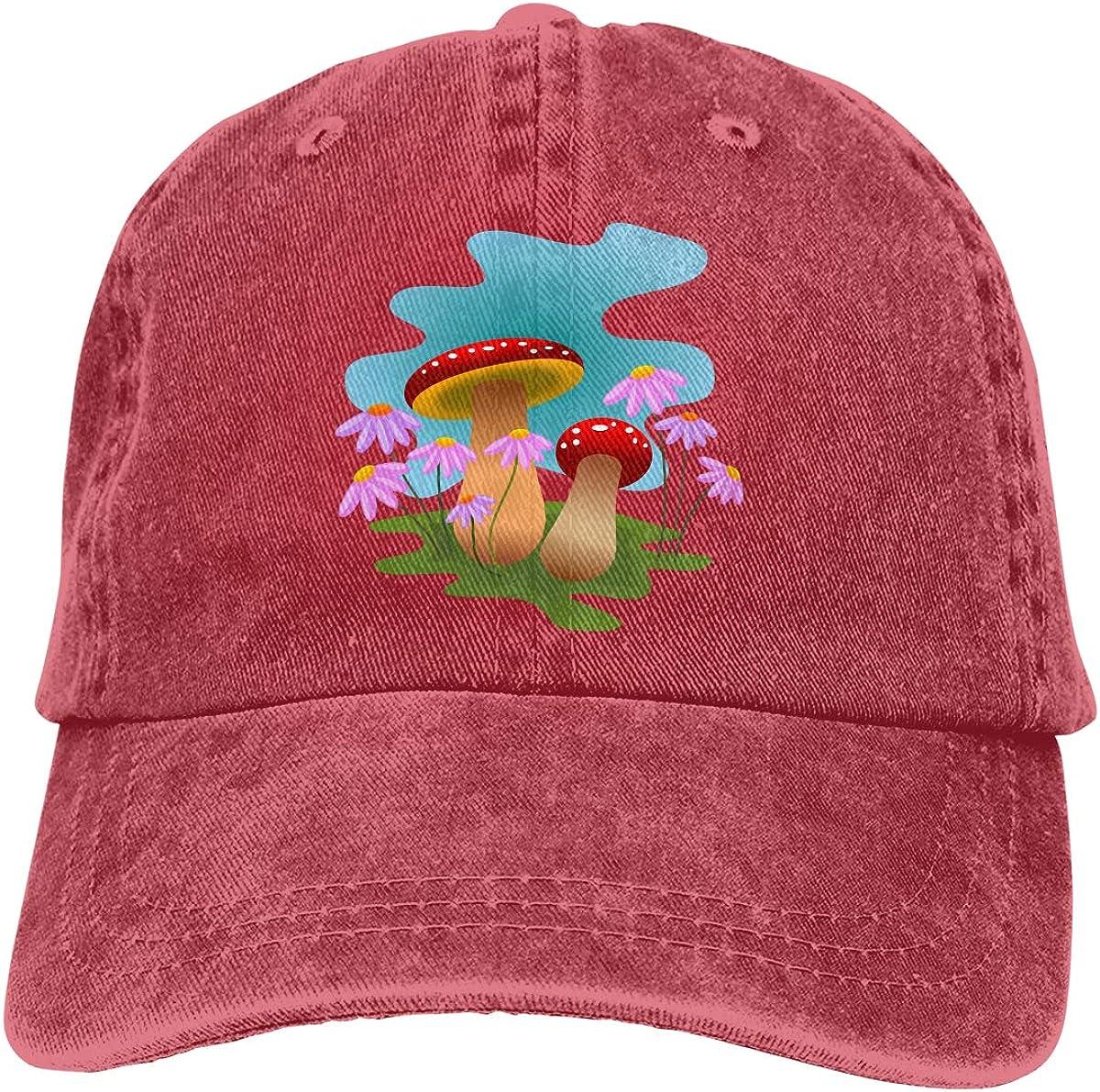 Colored Mushrooms Denim Hat Adjustable Plain Cap Baseball Caps