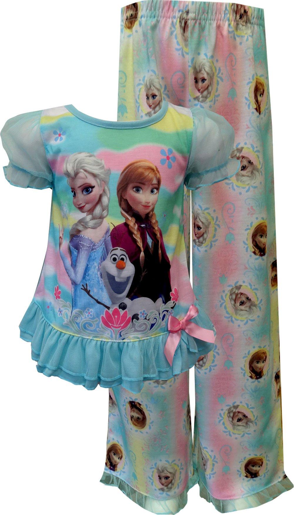 Frozen Little Girls' Rainbow Ruffled Pajama Set 2T by Disney (Image #1)