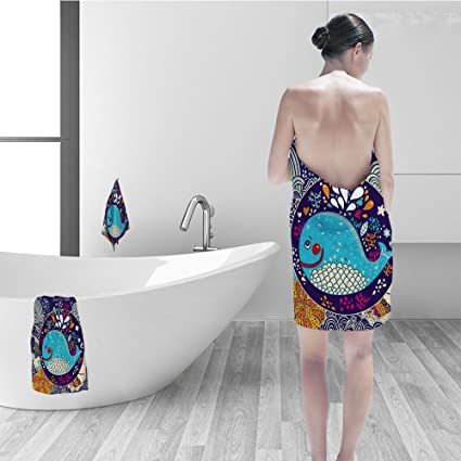 Nalahomeqq Bath Towel Set Sea Animals Decor Cartoon Illustration Smiley  Whale In Bubble Water Drops Waves