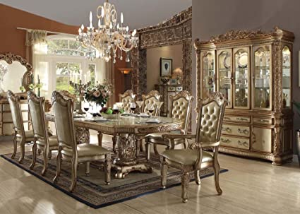 Inland Empire Furnitures Vendome Gold Formal 9 Piece Dining Set