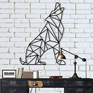 "Metal Wall Art, Geometric Wolf, Metal Wall Decor, Home Decoration, Metal Sculpture, Wolf Decor, Metal Sign (13"" W x 18"" H/34x45cm)"