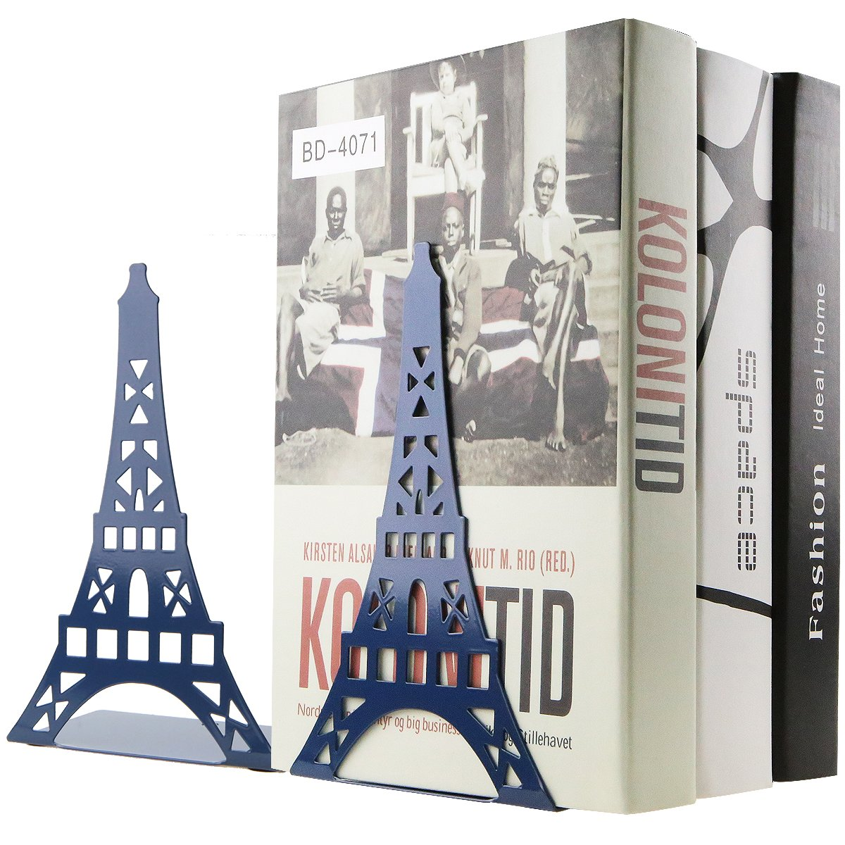 One Pair Creative Paris Eiffel Tower Book Organizer Metal Bookends for Kids School Library Desk Study Home Office Decoration Gift Blue
