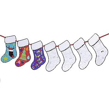 Neviti - Guirnalda de Navidad con Calcetines para Colorear, Negro/Blanco: Amazon.es: Hogar