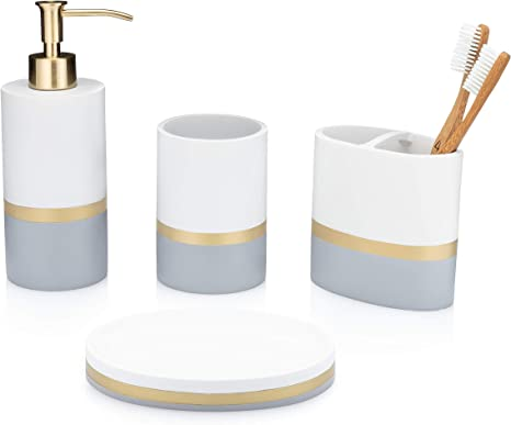Amazon Com Essentra Home Day And Night Collection 4 Piece Bathroom Accessory Set White And Grey With Gold Stripe Set Includes Lotion Dispenser Toothbrush Holder Tumbler And Soap Dish Kitchen Dining