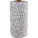 Just Artifacts ECO Bakers Twine 110yd 12Ply Striped Grey - Decorative Bakers Twine for DIY Crafts and Gift Wrapping