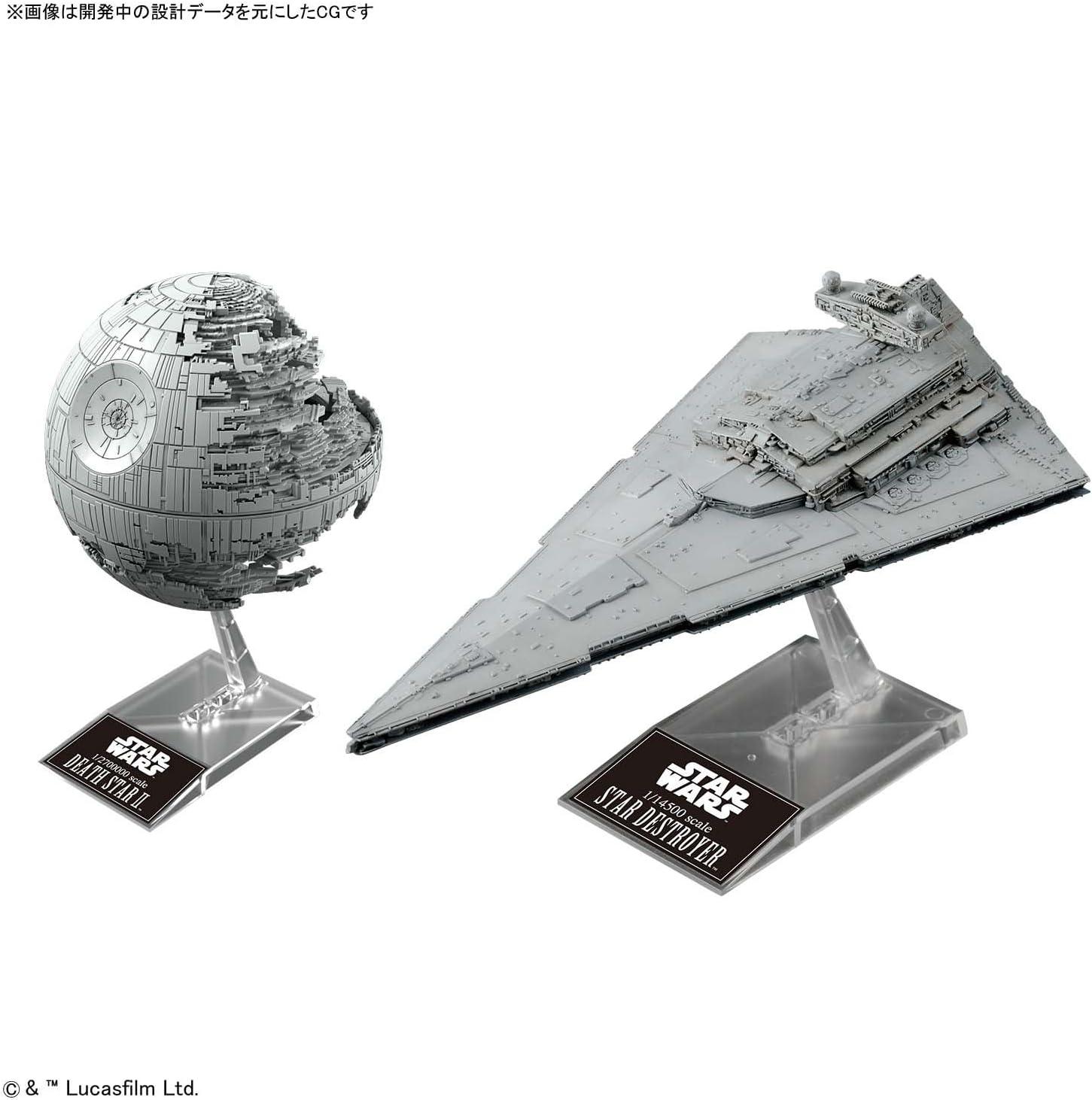 2,700,000 Death Star II /& 1 14,500 Star Destroyer Plastic Model Bandai Star Wars 1