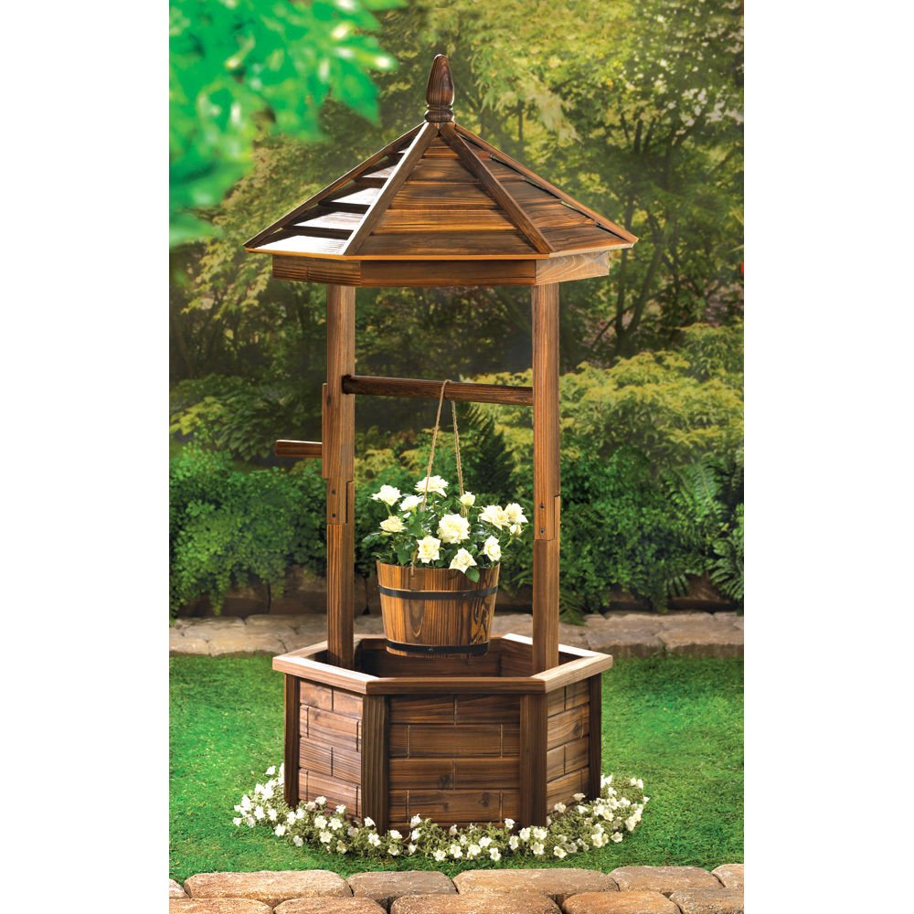 GHP Rustic Fir Wood Bucket Planter Yard Garden Lawn Wooden Wishing Well by Globe House Products