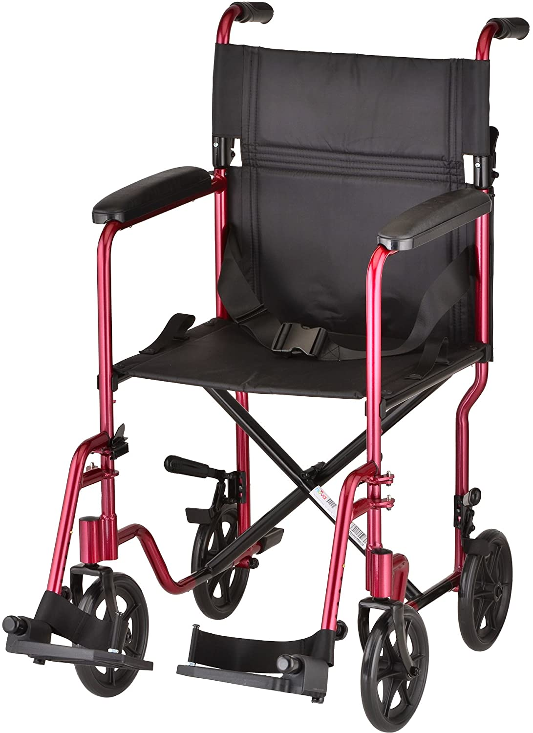 "NOVA Medical Products 19"" Lightweight Transport/Wheelchair, Red: Health & Personal Care"