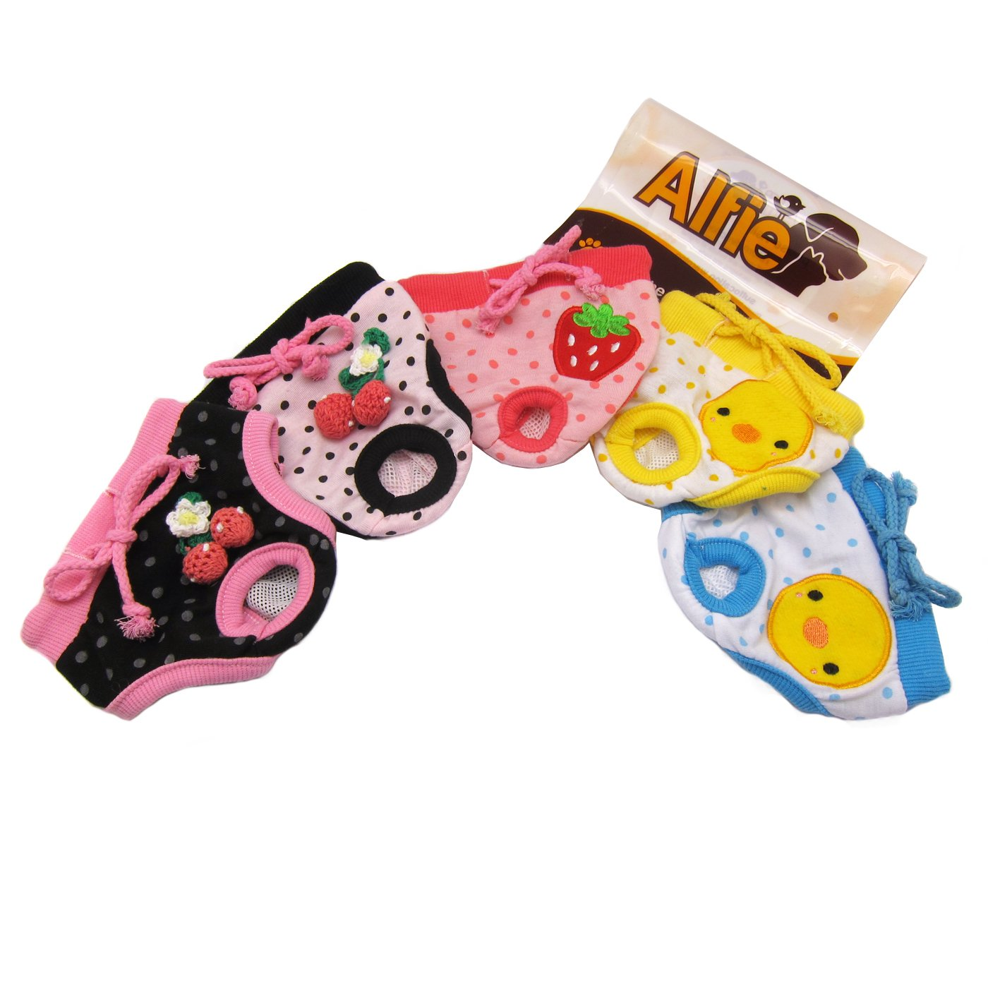 Alfie Pet by Petoga Couture - Zoe Diaper Dog Sanitary Pantie 5-Piece Set - Size: S (for Girl Dogs)