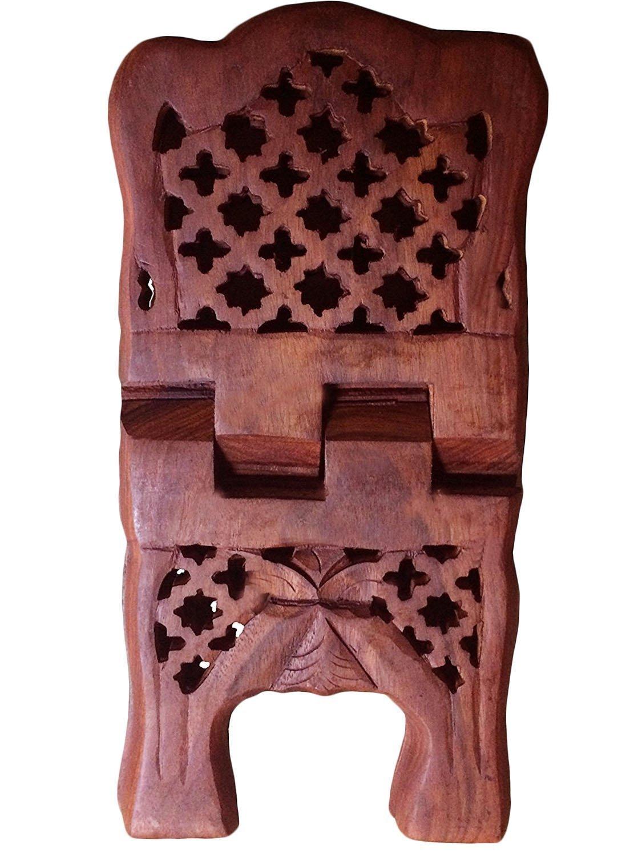 Regali speciali sulla festa della mamma. della novità squisita intagliato a mano in legno di piegatura del supporto del Libro Religioso stand con intricati Piazza IndiaBigShop