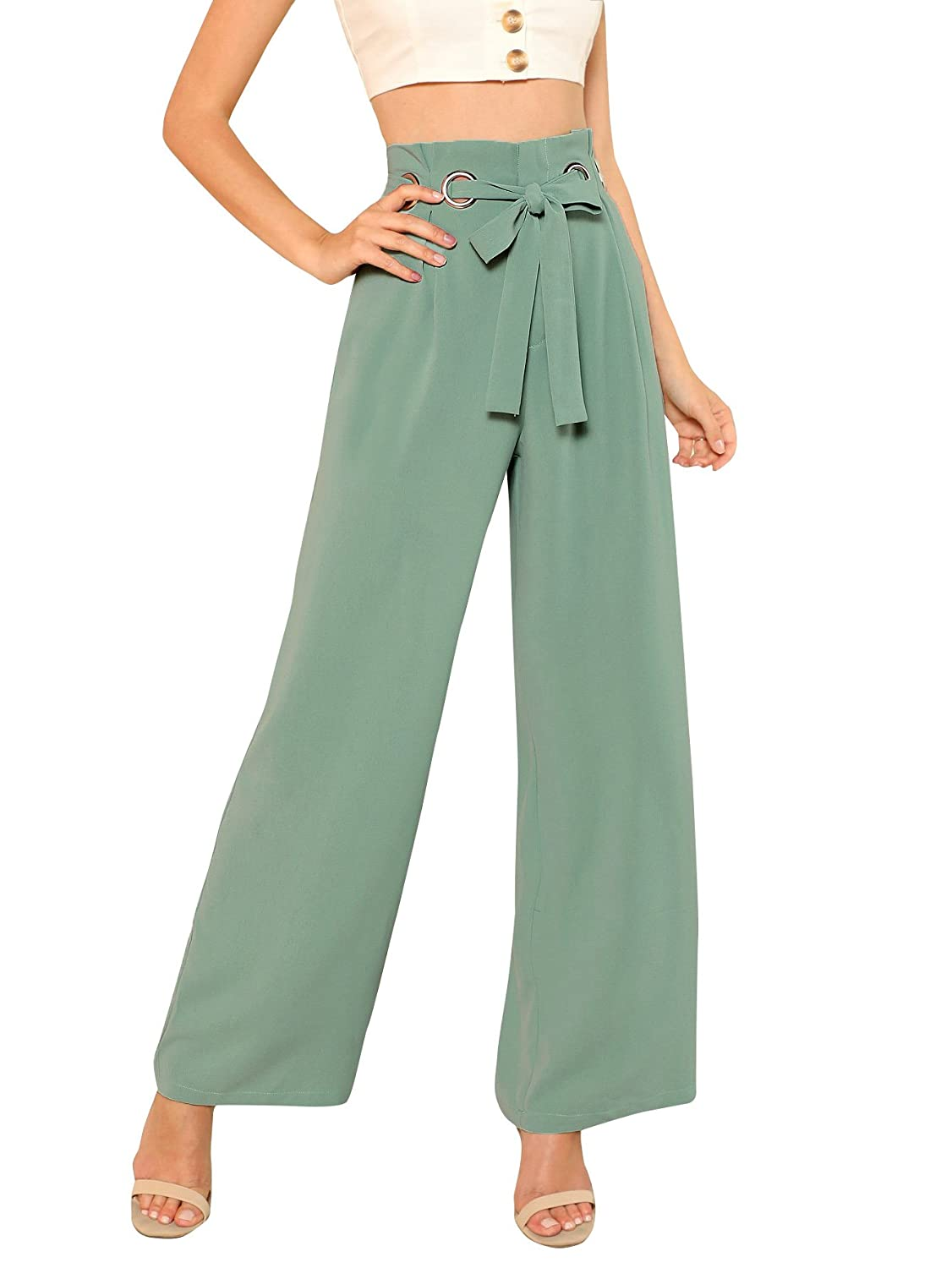 0cf1f428ec Amazon.com: SheIn Women's Casual Tie Waist Plain Wide Leg Palazzo Pants:  Clothing