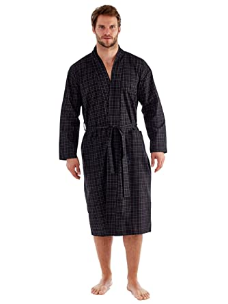 harvey james Mens Cotton Yarn Dyed Long Sleeve Kimono Dressing Gown ...