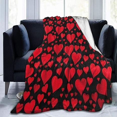 Amazon Com Clqqp Throw Blanket Red Hearts On Black Valentine Fleece Blanket Super Soft Baby Blanket Warm Blankets Summer Air Conditioner Fleece Throw Kitchen Dining
