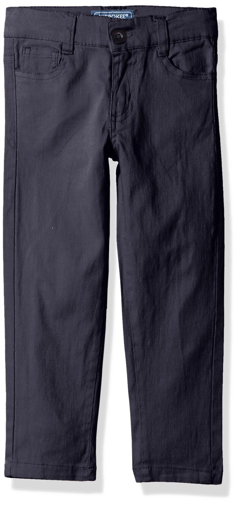 Cherokee Big Girls' Uniform Stretch Twill Skinny Pant, Navy 5 Pocket, 12