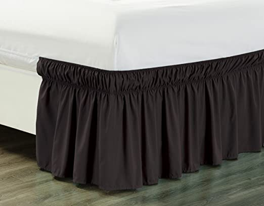 by-Rajlinen Dark Grey, Full //21 Polyester//Microfiber Elastic Dust Ruffle Three Fabric Sides Silky Soft /& Wrinkle Free Classic Stylish Look in Your Bedroom by-Rajlinen Wrap Around Bed Skirt