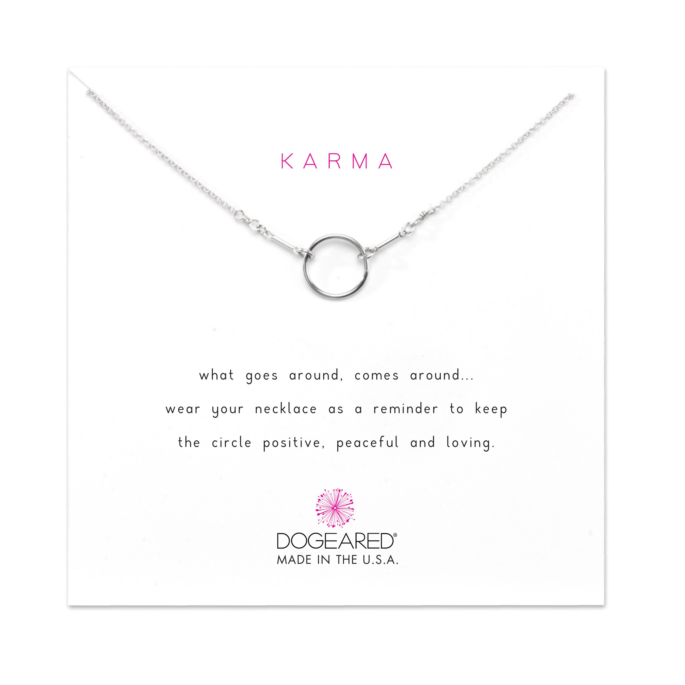 Dogeared Sterling Silver Classic Original Karma 16''wit a 2'' Extender (18'' total) Necklace