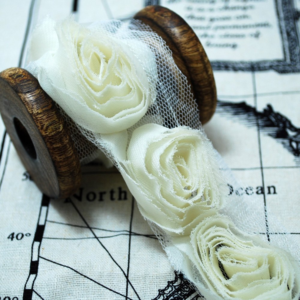 Bridal Doll Trimmings Frayed Rose Flower Chiffon 3D Rosette Rose Flower Lace Trim 1 Metre Cream