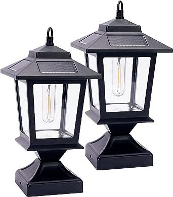 Solar Lamp Post Light 20 Lumen Post Cap Light for 4x4 Posts 2 Pack , Sturdy Aluminum Post Cap Light, Solar Powered and Energy-Saving, Warm White Brightness for Garden Yard Patio (Matte Black)