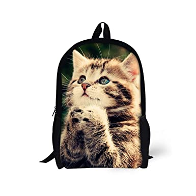 265b3a1043 Middle School Backpack For Boys Girls Large Durable Canvas Daypack Cat Print