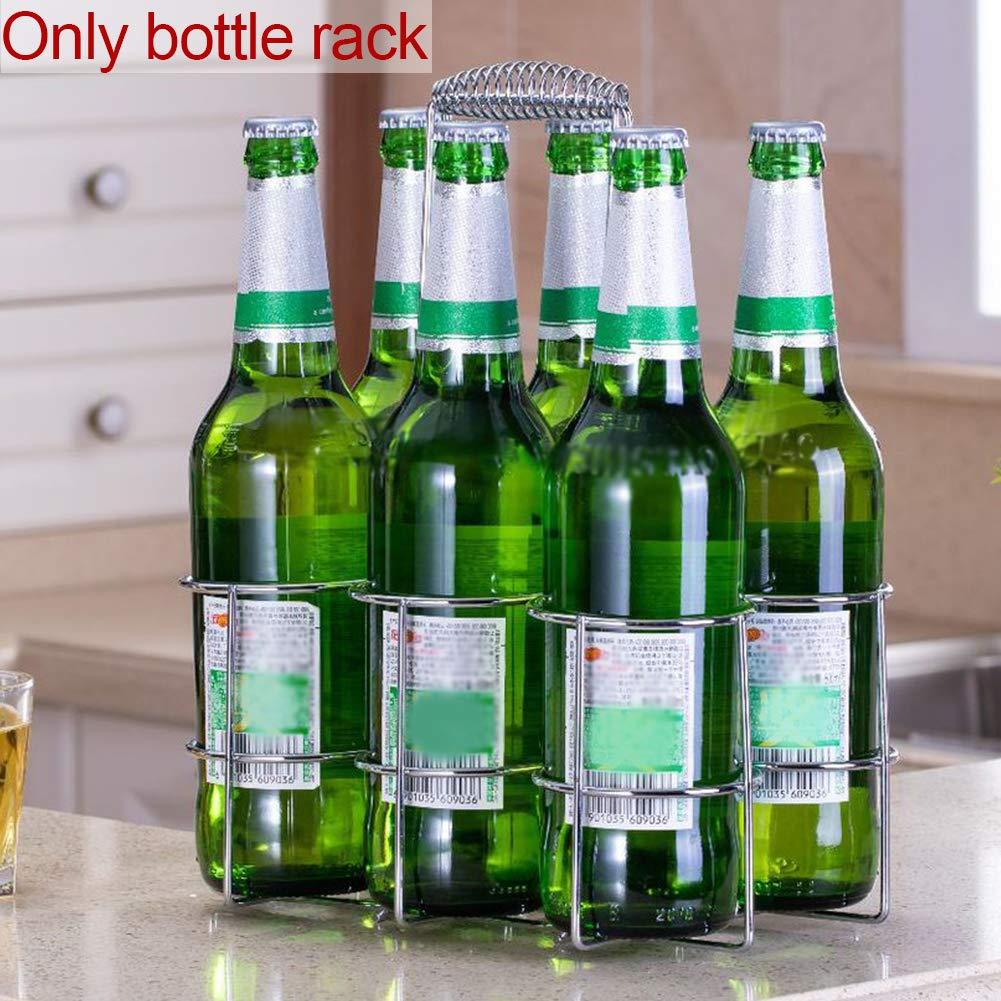 salvaspazio per conservare Bottiglie di Birra e Vino Taglia Libera NANAD Organizer Portatile da Cucina con Manico Rose Gold per 6 Bottiglie di Birra Porta Birra in Ferro