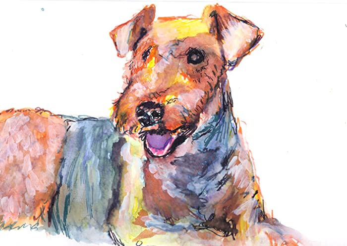 English Picture Print Airedale Terrier Puppy Dog with Basket Art Poster