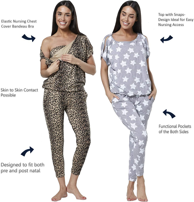 HAPPY MAMA Womens Maternity Breastfeeding Lounge Top Joggers Pyjamas Set 1024p