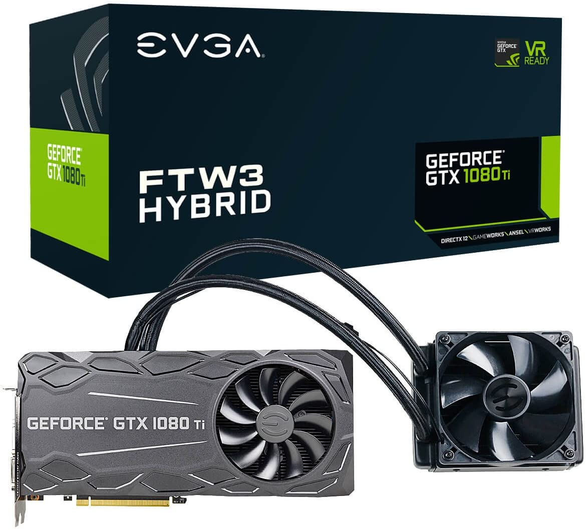 EVGA GeForce GTX 1080 Ti FTW3 HYBRID GAMING، 11GB GDDR5X، HYBRID & RGB LED، تقنية iCX - 9 حساسات حرارية بطاقة رسومات 11G-P4-6698-KR