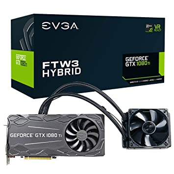 EVGA GeForce GTX 1080 Ti FTW3 HYBRID GAMING, 11GB GDDR5X, HYBRID & RGB LED,  iCX Technology - 9 Thermal Sensors Graphics Card 11G-P4-6698-KR