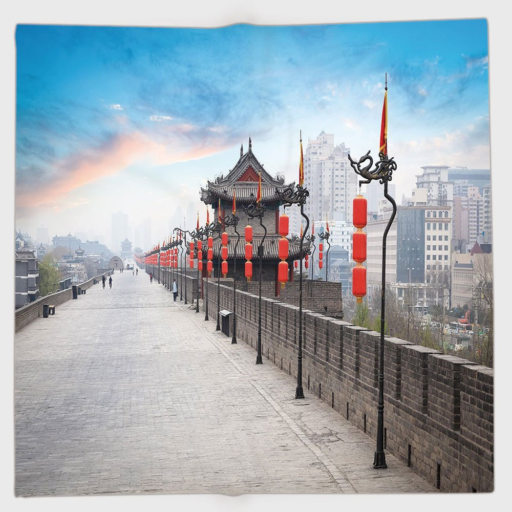 Cotton Microfiber Hand Towel,Ancient China Decorations,Old Tower on City Wall Xian City at Dusk Asian Landscape Image,Multicolor,for Kids, Teens, and Adults,One Side Printing