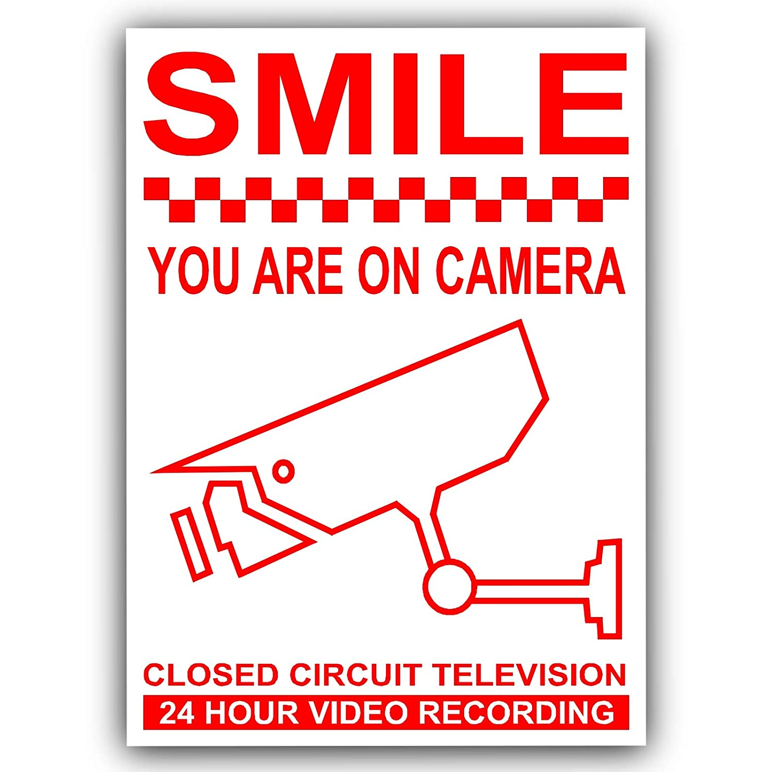 Platinum Place 6 X Smile You Are On Camera Red White 120mm Circuit Diagram Video Monitoring Cctv Recording Security Warning Stickers Self Adhesive Vinyl Sign