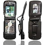 caseroxx - Housse de téléphone portable à clip pour Motorola Razr V3 en Cuir veritable - Housse de protection à porter à la ceinture (coloris noir avec fenêtre transparente antisalissure)