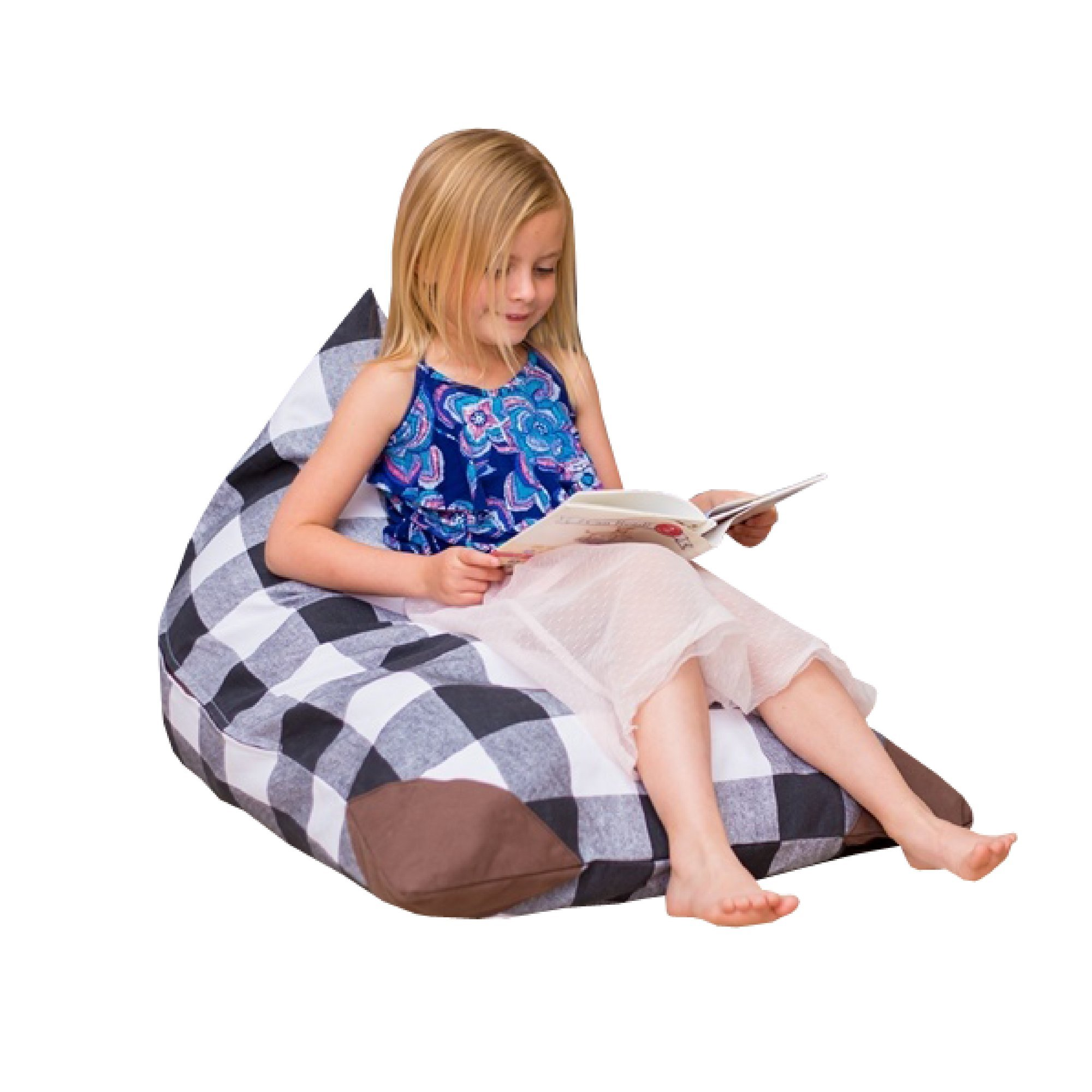 Stuffed Animal Storage Bean Bag Chair Cover For Kids-Plush Toy Organization For Toddler's Room Playroom | Sleeping Bag | Soft And Comfortable Bean Bag Bed | Easy Carrying Plaid For Boys and Girls