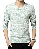Goodid Tシャツ 長袖 カットソー Vネック 杢調 ストレッチ カジュアル メンズ