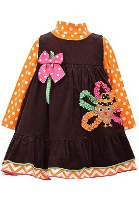 82a342d3215d6 Amazon.com: Bonnie Jean Little Girls' Turkey Applique Corduroy Jumper Set:  Pants Clothing Sets: Clothing