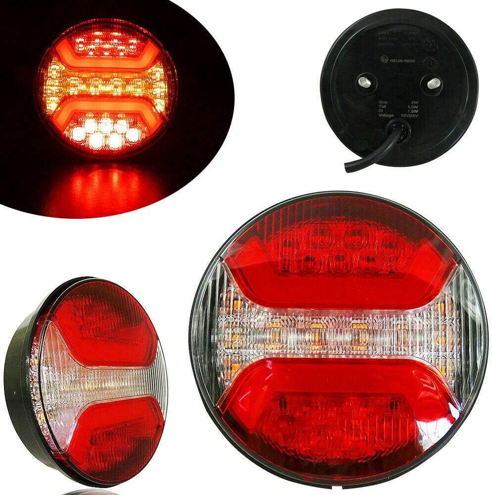 2x R/ückleuchten LED Rund Bremslicht Wasserdicht Positionslicht 122mm Durchmesser Neon Effekt Anh/änger LKW E Pr/üfezeichen 12//24V