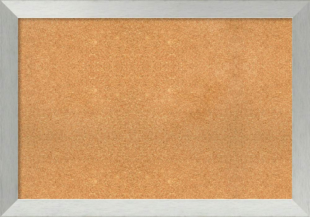 Amanti Art Extra Large, Outer Size 40 x 28 Natural Cork Brushed Sterling Silver Framed Bulletin Boards, 36x24
