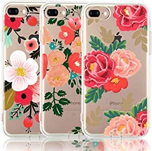 iPhone 7 Plus Case, iPhone 8 Plus Case, [3-Pack] CarterLily Watercolor Flowers Floral Pattern Soft Clear Flexible TPU Back Case for iPhone 7 Plus iPhone 8 Plus (Red Flowers)