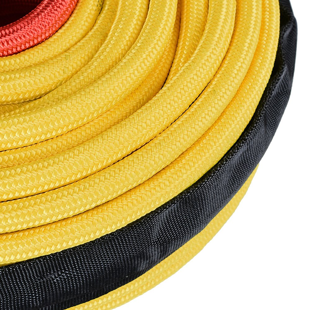 Anzio 95ft x 3//8 22,000 lbs Yellow Lightweight Flexible Fiber Synthetic Winch Rope Rock Heat Guard for Jeep 4X4 Off-Road