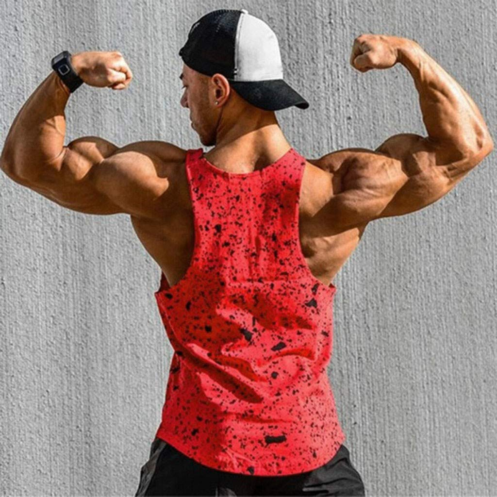 Mens Muscle Tank Tops Bodybuiding Stringer Athletic Workout Gym Fitness Vest T-Shirts