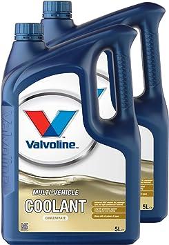 Valvoline 2x Kühlerfrostschutz Multi Vehicle Coolant Concentrat Konzentrat Kühler Frost Schutz Frostschutz Hellgelb 5l Auto
