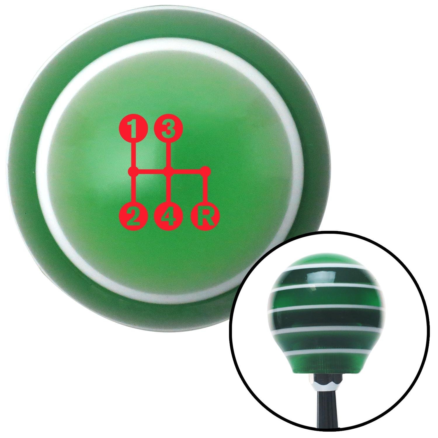 American Shifter 275607 Shift Knob Red 4 Speed Shift Pattern - Dots 6n Green Stripe with M16 x 1.5 Insert